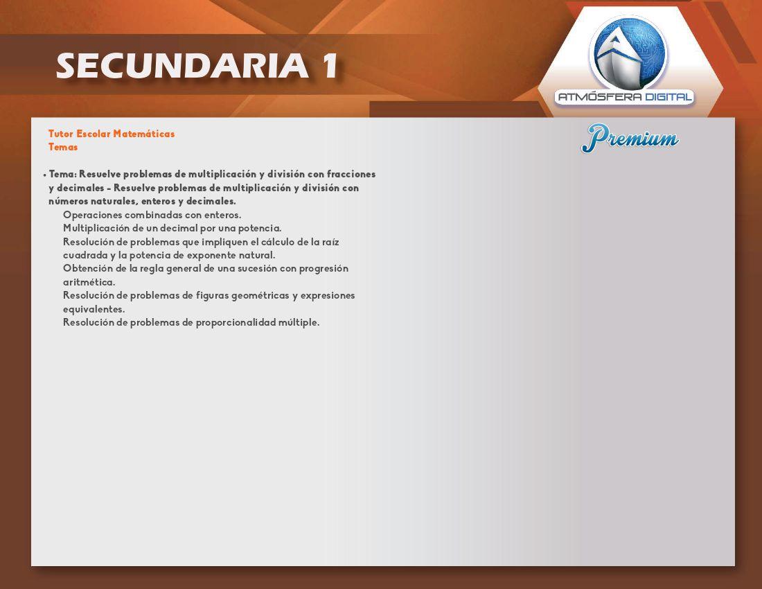 Secundaria – contenido temático de las aplicaciones Atmósfera Digital Premium