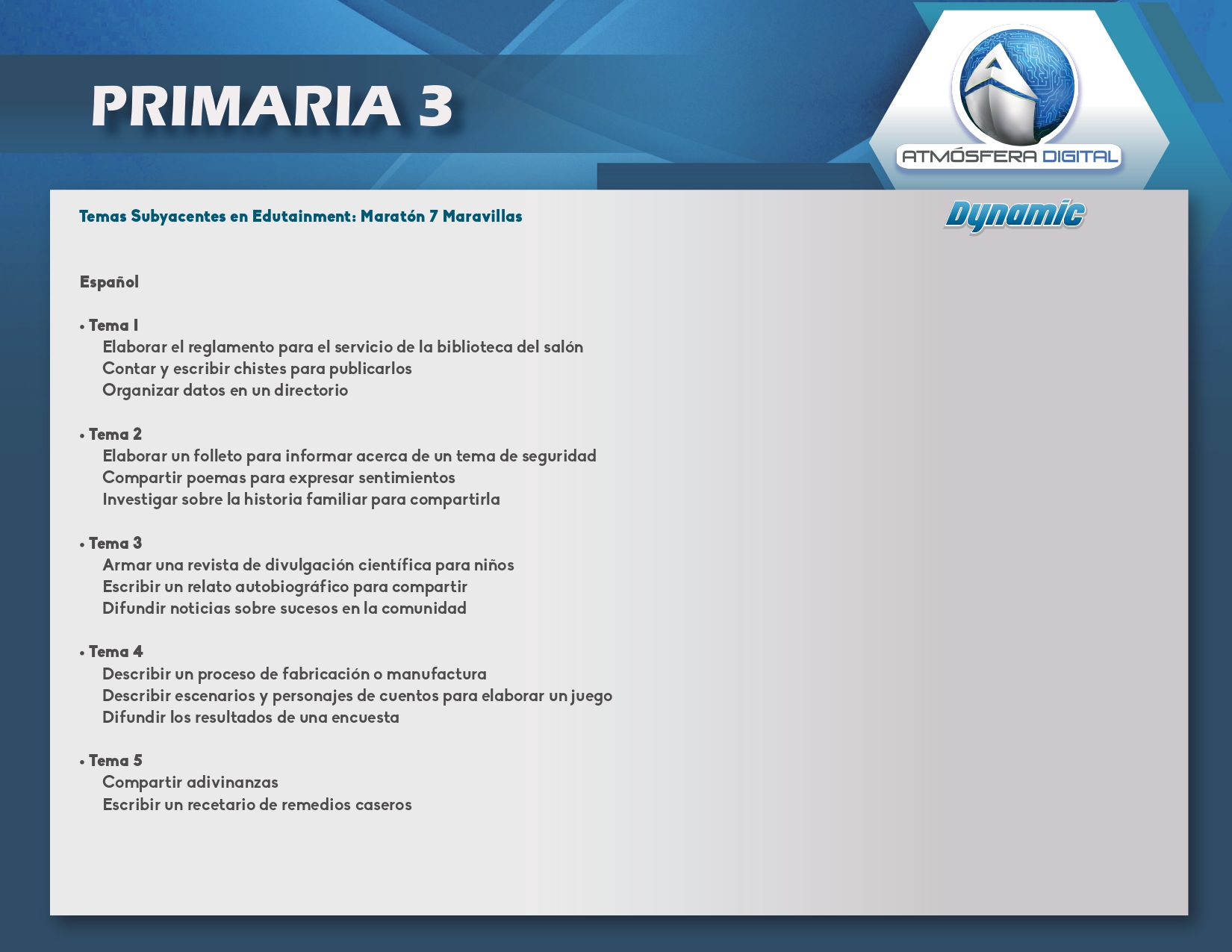 Temario Atmósfera Digital Dynamic- Primaria