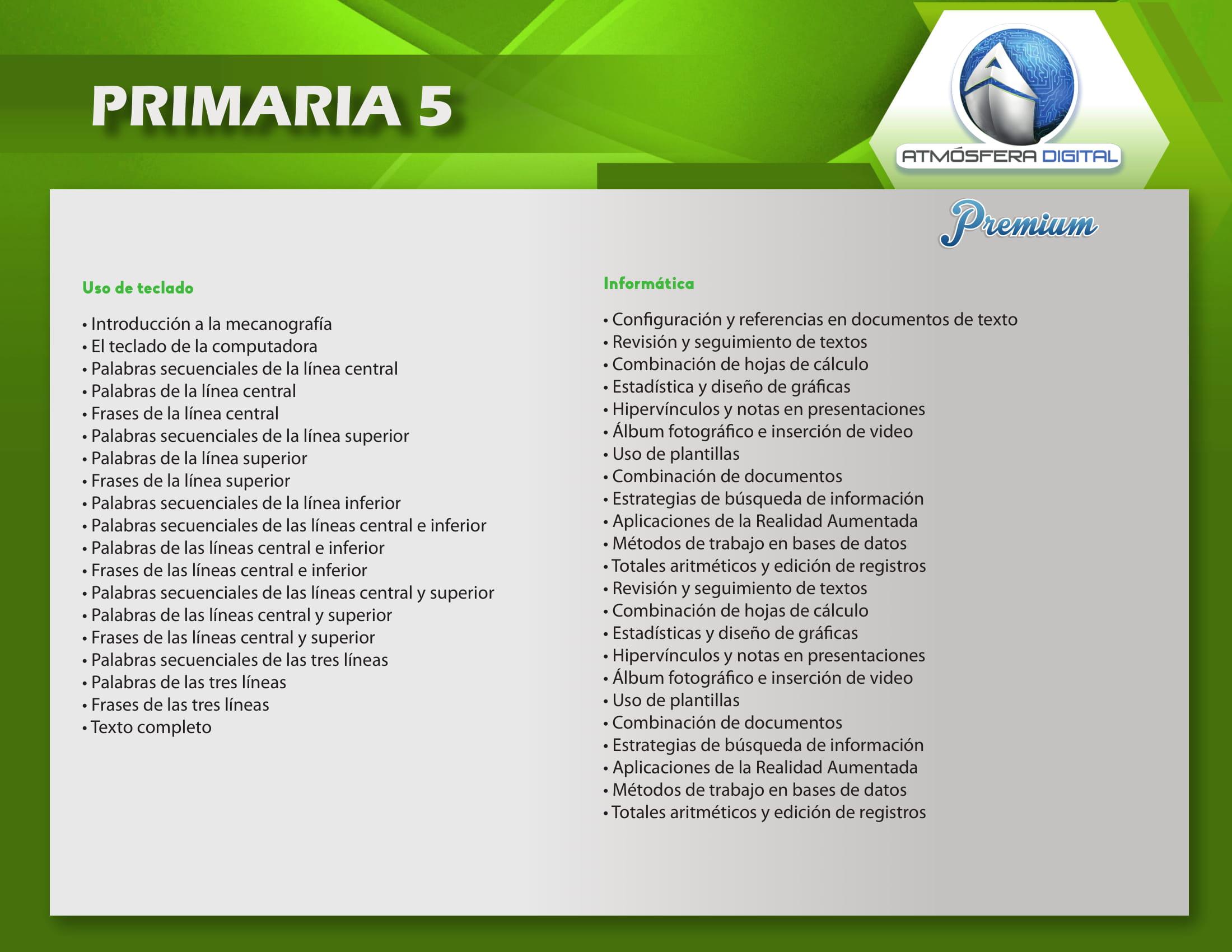 Temario Atmósfera Digital Premium – Primaria